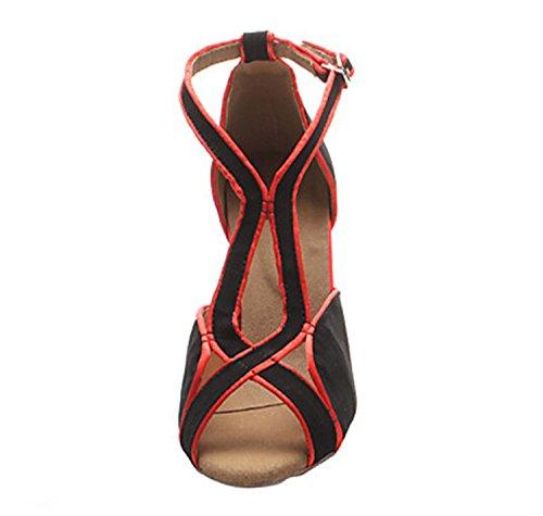 Minitoo Damen elegantes Wildleder Abend, für Hochzeiten, Partys, moderne Latin Dance Shoes Sandalen Rot
