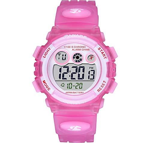 Omadiol Digitaluhren für Kinder, 50m wasserdichte 7 Farbige Lichter Led Leuchtend Multifunktionale Modische Sport-Outdoor-Armbanduhren mit Chronograph und Stoppuhr Alarm für Jungen Mädchen, Pink