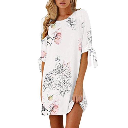Cooljun Damen Kleider Frauen Vintage Sommerkleider Solid Bowknot Halb Ärmel T-Shirt Kleid Lässig...
