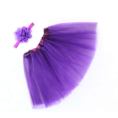 WOZOW Mädchen Tüllrock Einfarbig Mesh Blumen Stirnband Weihnachten Fasching Röckchen Unterkleid Minirock Prinzessin Crinoline Petticoat
