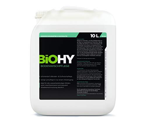 Bodenreiniger (BIOHY Bodenreiniger 10 Liter Kanister Konzentrat für Fließen/PVC/Laminat, Hartbodenreiniger, Glanzreiniger, Duftwischpflege, Grundreiniger Boden, Profi Bio-Reiniger - Bio Reinigungsmittel)