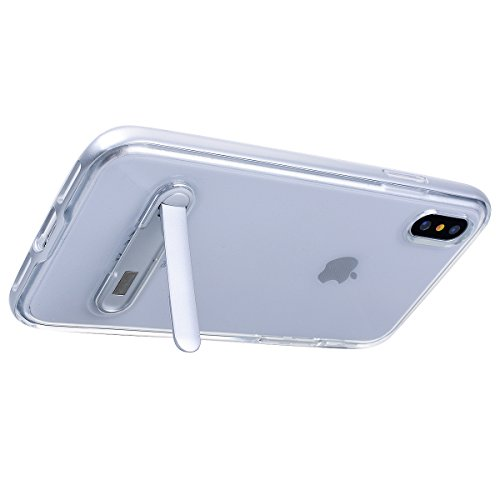 GrandEver iPhone X Hülle Weiche Silikon Handyhülle PC & TPU 2 in 1 Bumper Durchsichtig Schutzhülle für iPhone X Rückschale Klar Handytasche Anti-Kratzer Stoßdämpfung Ultra Slim Rückseite Silicon Backc Silber