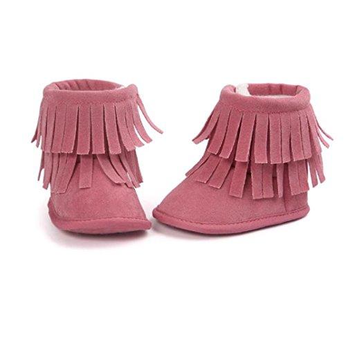 BZLine - Unisexe Bébé Frange Double Chaussure Keep Warm - Semelle à tissu - Souple (6~12 Mois, Gris) Rouge pastèque