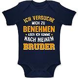 Shirtracer Sprüche Baby - Ich versuche Mich zu benehmen Aber ich komme nach Meinem Bruder orange - 3-6 Monate - Navy Blau - BZ10 - Baby Body Kurzarm Jungen Mädchen