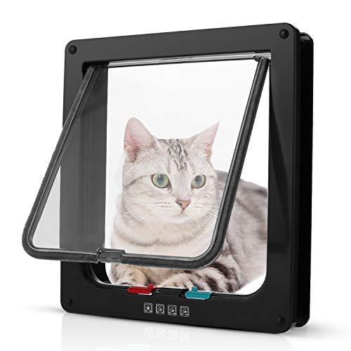 *Pujuas Katzenklappe Hundeklappe mit 4-Wege-Magnet-Schließ, Haustierklappe für Katzen und kleine Hunde, Katzentüre mit Tunnel (XL, Schwarz)*