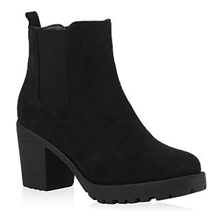 Stiefelparadies Damen Stiefeletten Wildleder-Optik Glitzer Chelsea Boots Animal Prints Profilsohle Knöchelhohe Stiefel Schuhe 105430 Schwarz 39   Flandell®