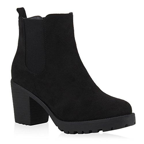 Damen Stiefeletten Blockabsatz Chelsea Boots Profilsohle Schwarz