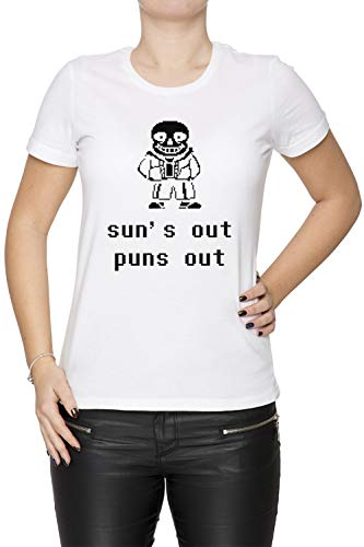 Sans - Suns Out Puns Out Damen T-Shirt Rundhals Weiß Kurzarm Größe XS Women's White T-Shirt X-Small Size XS (Suns Out Guns Out Tank Top)