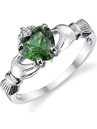 Damen Sterling Silber 925 Claddagh Ring Mit Smaragd herz Zirkonia Bequemlichkeit Passen,Größe 47