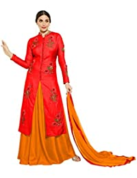 VIHA Women's Silk Dress Material (Choice_Red_SS_Free Size_Red)