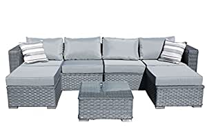 Yakoe Papaver 6-Seater Garden Furniture Patio Conservatory Rattan Corner Sofa Set with Coffee Table and Stools - Grey