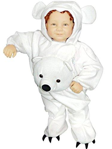 Eisbären-Kostüm, J45 Gr. 92-98, für Klein-Kinder, Babies, Eis-Bären Kostüme Fasching Karneval, Kleinkinder-Karnevalskostüme, Kinder-Faschingskostüme,Geburtstags-Geschenk - Polar Bär Baby Kostüm