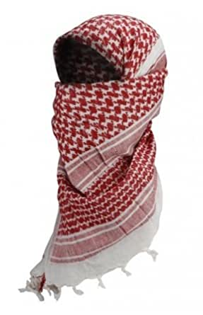 Shemagh Keffieh Cheche US Army - Foulard Palestinien - Coloris Rouge - Airsoft - Paintball - Outdoor