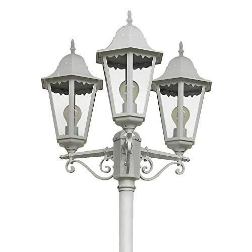 Mastleuchte Norderney 3-flg | Leuchte antik-weiß, Höhe 220 cm | Kandelaber inkl. 3x AGL Leuchtmittel 60W