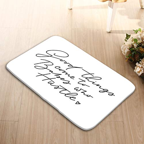 iday Rectangle Non-Slip Rubber Mat Multicolor 23.6 by 15.7 Inch Good Things Come to Babes who Hustle letteri Good thi ()