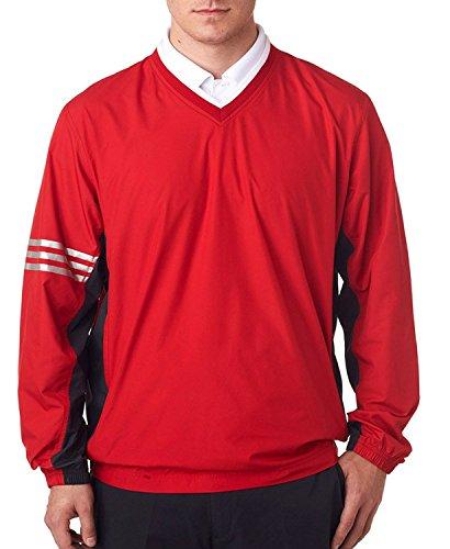 adidas Men's Climalite Color Block V-Neck Windshirt, University Red/Blk, X-Large (Adidas Windshirt)