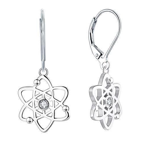 JO WISDOM Damen Ohrhänger Atom Atheist Silber 925 Atomarer Atheismus Ohrringe Hängende Wissenschaft, Schmuck für Frauen