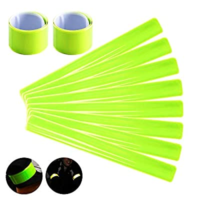 KINDPMA 10pcs Reflektorband Schnapparmbänder Klatscharmband Gelb Reflexband Reflektierende Sicherheitsbänder Reflektoren Set für Arm Fußgelenk Kinder Fahrrad Kinderwagen, 30 * 3cm