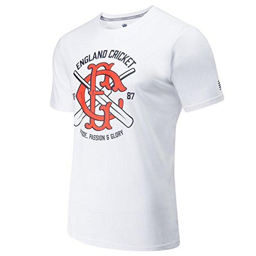 New Balance Herren T-Shirt England Cricket Graphic 1, CMT8016-WT, weiß, Large