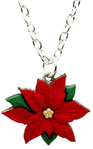 Bluebubble MERRY CHRISTMAS Red Poinsettia Necklace With FREE Gift Box