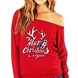 OSYARD Christmas Sweatshirt Oberseiten T-Shirt Damen, Frauen Weihnachten Blumendruck Hemd Tunika Pulli Rundhalsausschnitt OberteileStrickpullover Langarm Pullover Tops Bluse(2XL, Rot)