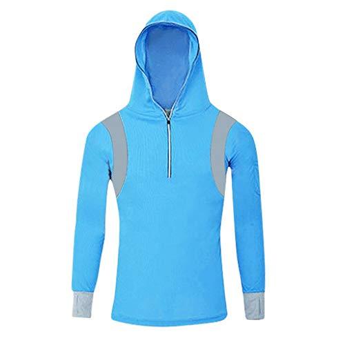 MakefortuneLangärmliges Kapuzen-T-Shirt mit Reißverschluss für Herren Schnelltrocknendes Aufwärm-Sweatshirt Running Jogging Top T-Shirt Herrenbekleidung Base Layer - Base Jumper Kostüm