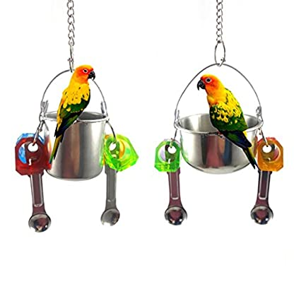 KaariFirefly Birds Parrots Stand Hanging Stainless Steel Food Cup Holder Swing with 2 Spoons - Random Color L 2