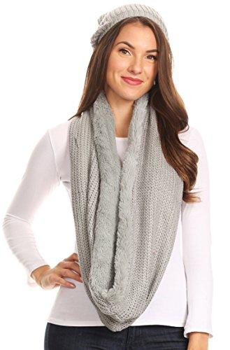 Sakkas 16139 - balencia cool girl - felpa con cappuccio lungo e ampio in morbida pelliccia con fiocchetto - grigio - os