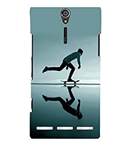 printtech Skateboard Man Mirror Back Case Cover for Sony Xperia S Lt26i