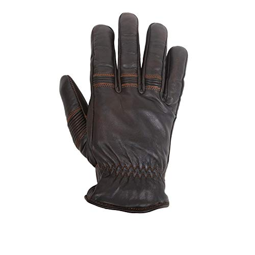 HELSTONS - Guanti da moto invernali in pelle di bovino, colore: Marrone/Nero, T9