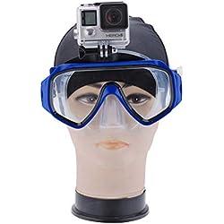 Accessoire Masque de plongée Lunettes de plongée Lunettes de plongée Lunettes de plongée sous-Marine avec étui pour Appareil Photo Snorkel Amovible sous-Marin pour Gopro Hero(Bleu)