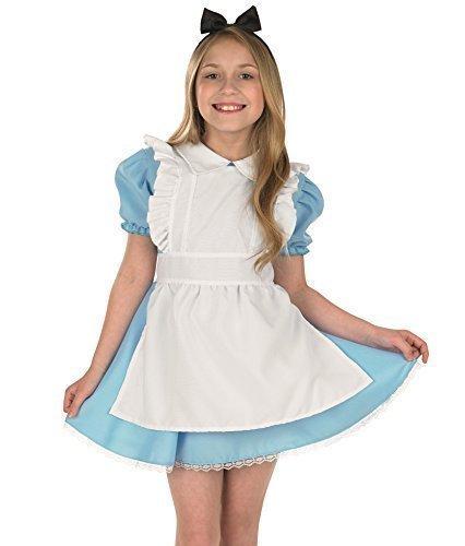 Mädchen-Kostüm 'Alice im Wunderland' Faschingskostüm - Traditionelles Design - Welttag des Buches - Größen: EU 104-152 - Blau, EU 128-140