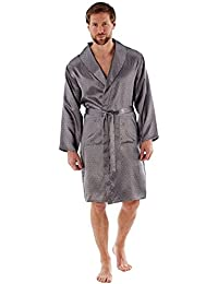 990728259f Harvey James Men s New Lightweight Traditional Patterned Satin Dressing  Gown Wrap Robe Navy and Grey