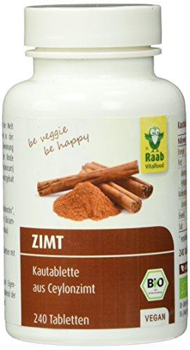 Raab Vitalfood Bio-Zimt Tabletten, 240 Tabletten, 1-er Pack (1 x 60 g) - Bio