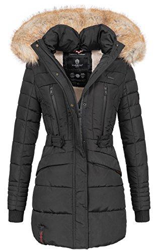 Marikoo Damen Winter Jacke Parka Mantel Winterjacke warm gefüttert Kapuze B608 [B608-Schwarz-Gr.XS]