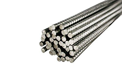 10 Stück Bewehrungsstahl 1 m Länge, 6 mm Durchmesser - Inoxripp® 4486, rostfrei, Edelstahl V4A - verschiedene Längen