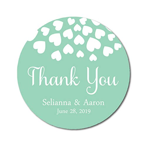 de 45 Stück Herzen danken Ihnen Aufkleber-Hochzeit Personalisierte Braut-Bräutigam-Namen und Datums-Umschlag-Seals-Mint ()