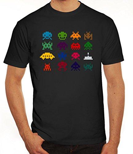 Nerd Herren T-Shirt mit Retro Pixels Motiv von ShirtStreet Schwarz