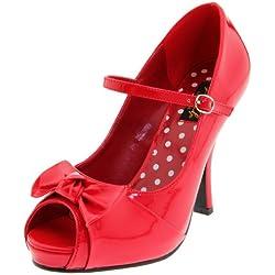 Pleaser Cutie08/Rpt - Zapatos de tacón para mujer, color Rojo (Red)