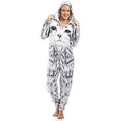 Camille - Pijama de una pieza - Para mujer e infantil - Estampado de gato - Gris claro 42/44