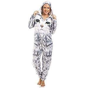08fb3f1859 Camille – Pijama de una Pieza – para Mujer e Infantil – Estampado de Gato –  Gris Claro