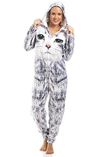 929ac2a57c Camille – Pijama de una pieza – Para mujer e infantil – Estampado de gato –  Gris claro