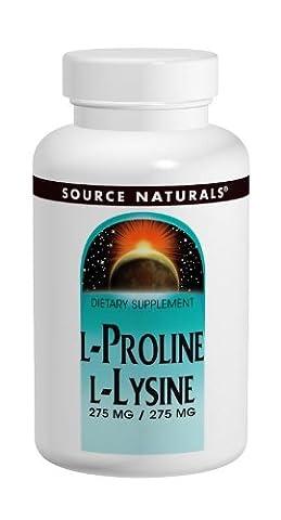 Source Naturals, L-Proline L-Lysine 275mg / 275mg x120tabs - avec la baie d'aubépine, extrait de graine de raisin, vitamine C