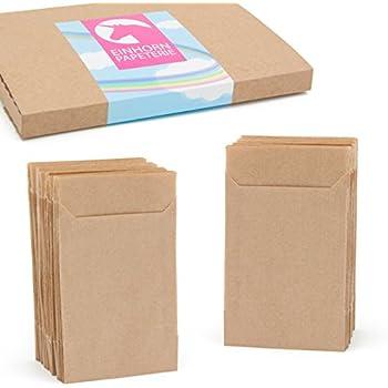 Einhorn-Papeterie | 100 flache braune Mini Papier Geschenktüten - 6,5 x 9cm (1,4cm Lasche) – Verwendet für Mini-Adventskalender, Weihnachten, Freudentränen, Mitgebsel, Gastgeschenke, Blumensamen