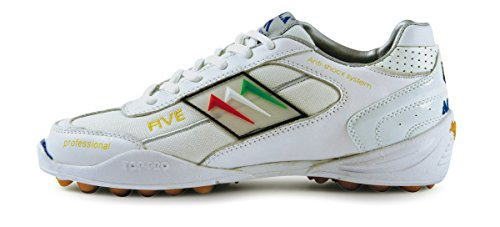 AGLA PROFESSIONAL FIVE OUTDOOR WHITE/WHITE scarpe calcetto pelle/tela con anti-shock system White/white