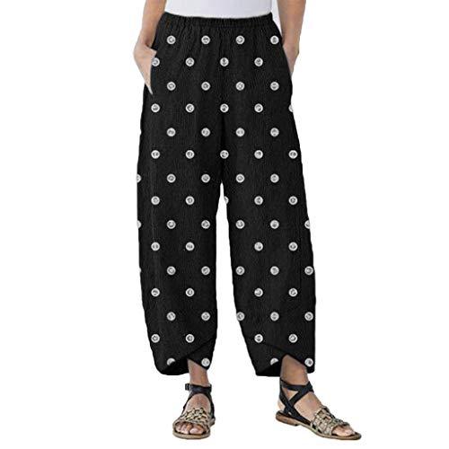 men Boho Polka Dots Print Bedrucktes Druck Loose Long Bloomers Slit Cuff Casual High Waist Mode Elegant Saggy Trousers (S,Schwarz) ()