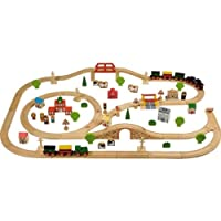 Top Tidlo Wooden Train Set (100 Pieces) with accompanying HSB Storage Bag