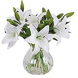 Homcomoda Fleurs artificielles Faux fleurs de Lys 5 bouquets Faux bouquet de fleurs pour décor de fêtes de mariage (Blanc)