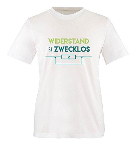 Comedy Shirts - Widerstand ist zwecklos - Herren T-Shirt - Weiss / Türkis-Hellgrün Gr. L