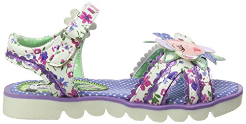 Irregular Choice Flower Face, Sandales  Bout ouvert fille Multicolour (White/Purple)